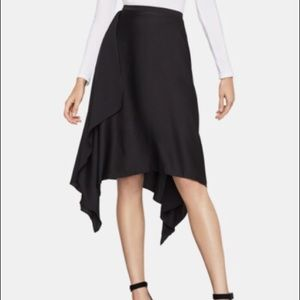 BCBGMaxAzria Black Asymmetrical Drape Satin Skirt